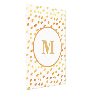 Pick Your Size!  White and Gold Confetti Monogram Canvas Print