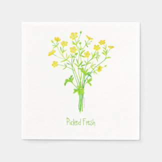 Picked Fresh Napkins - Buttercups Wildflower Paper Napkin