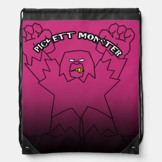 PICKETT MONSTER - Pinch Fade Black Line Drawstring Bag