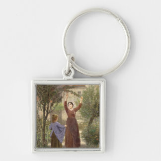 Picking Cherries Silver-Colored Square Keychain
