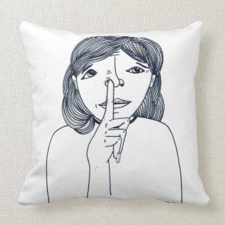 Picking nose Girl Illustration Pillow by Mari Rock