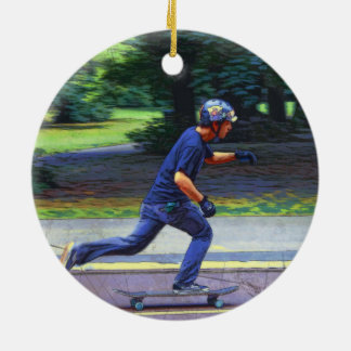 Picking Up Speed  -  Skateboarder Round Ceramic Ornament