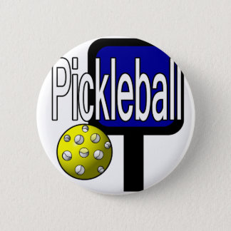 Pickle and ball graphic with paddle and ball 2 inch round button