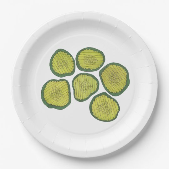 Pickle Chips Green Kosher Dill Pickle Chip Design 9 Inch Paper Plate