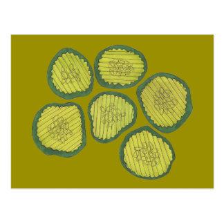 Pickle Chips Green Kosher Dill Pickle Chip Design Postcard