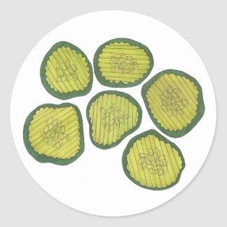 Pickle Chips Green Kosher Dill Pickle Chip Foodie Classic Round Sticker