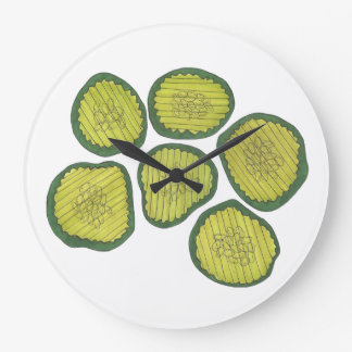 Pickle Chips Sweet Pickles Food Kosher Dill Decor Large Clock