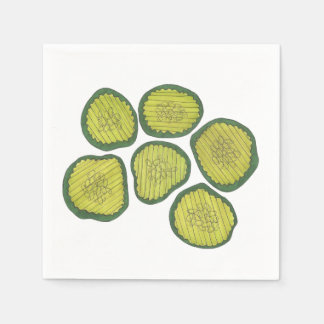 Pickle Chips Sweet Pickles Food Kosher Dill Print Disposable Napkins