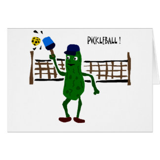 Pickle Playing Pickleball Primitive Art Card