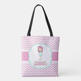 Pickle Snickelfritz Pink Chevron Tote Bag
