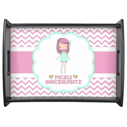 Pickle Snickelfritz Serving Tray - Pink Chevron