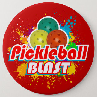 Pickleball Blast 1 Image Options 6 Inch Round Button