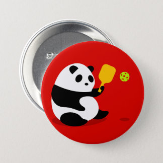 """Pickleball Button: """"Pickleball Panda"""" 3 Inch Round Button"""
