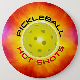 Pickleball Hot Shots 1 Image Options 6 Inch Round Button