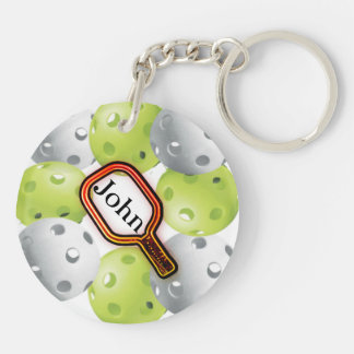 Pickleball Keychain/front/back - with name Keychain