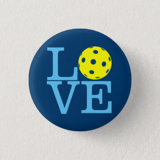 Pickleball Mini Button: LOVE (Blue) 1 Inch Round Button