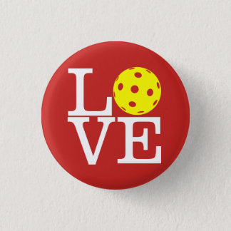 Pickleball Mini Button: LOVE (Red) 1 Inch Round Button
