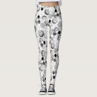 Pickleball Pattern, Black, White and Gray Leggings