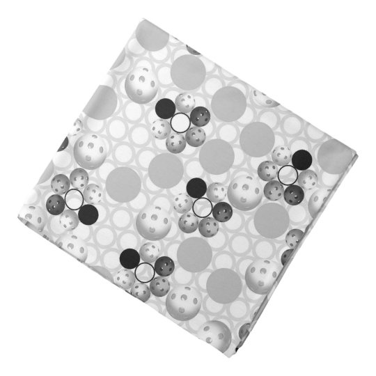 Pickleball Print, Black and White Bandana