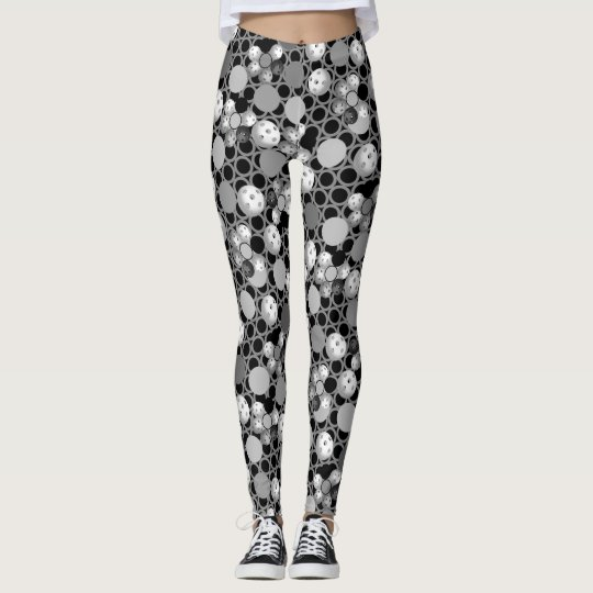 Pickleball Print, Black, White and Grey Leggings