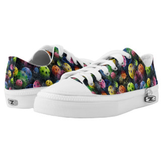 Pickleball Print with Dark Background Low-Top Sneakers