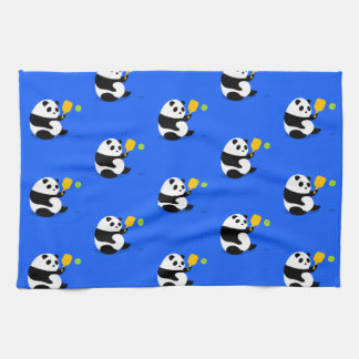 Pickleball Sports Towel: Pickleball Panda Pattern Kitchen Towel