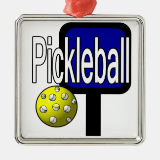 Pickleball, with ball and paddle design picture metal ornament