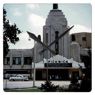 Pickwick Movie Theatre Park Ridge Watercolor Art Square Wall Clock