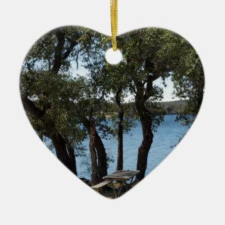 Picnic at the Lake Ceramic Ornament