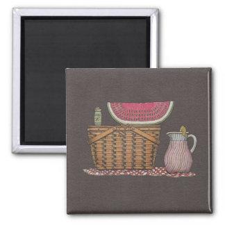 Picnic Basket & Watermelon Fridge Magnet