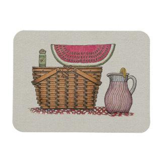 Picnic Basket & Watermelon Rectangular Photo Magnet
