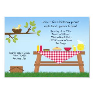 "Picnic Birthday Party Invitation 5"" X 7"" Invitation Card"