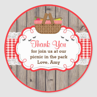 Picnic Birthday Party Thank You Favor Tag Sticker