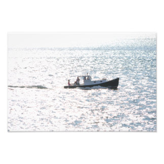 Picnic Boat at Sea Photo Print