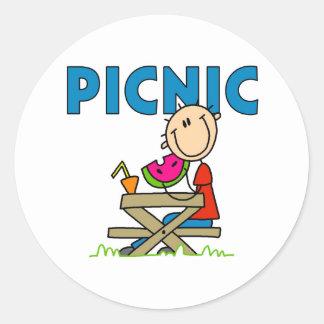 Picnic Boy Round Sticker