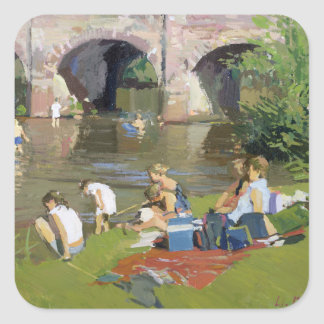 Picnic by the River Withypool Square Sticker