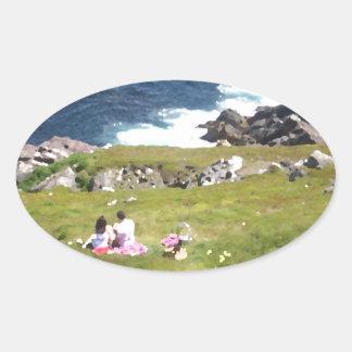 Picnic by the sea oval sticker