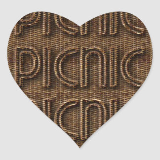 Picnic Funny Wicker Style Typography Brown Heart Sticker