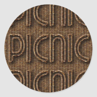 Picnic Funny Wicker Style Typography Brown Round Sticker