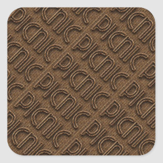 Picnic Funny Wicker Style Typography Brown Square Sticker