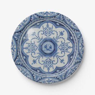 Picnic on 1896 Minton Holland Blue & White Paper 7 Paper Plate