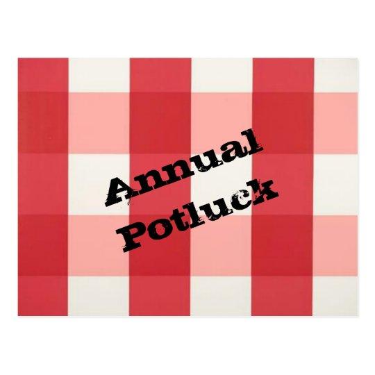 picnic plaid postcard