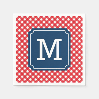 Picnic Red Gingham Personalize Name Monogram Paper Napkins