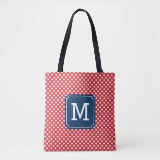 Picnic Red Gingham Personalized Name Monogram Tote Bag
