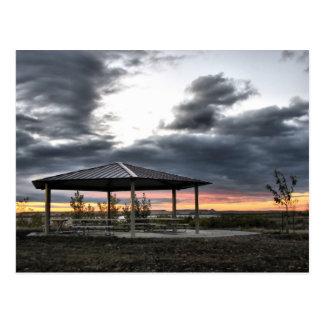 Picnic Shelter At Sunrise Postcard