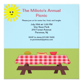 Picnic Table On The Grass Invitation