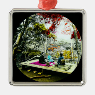 Picnic Under the Maple Leaves Vintage Old Japan Silver-Colored Square Ornament