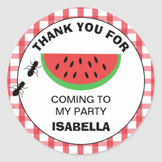 Picnic Watermelon Birthday Party Sticker