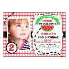 Picnic Watermelon Photo Birthday Party Invitation