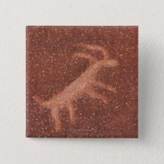 Pictograph of antelope on red sandstone wall, 2 inch square button